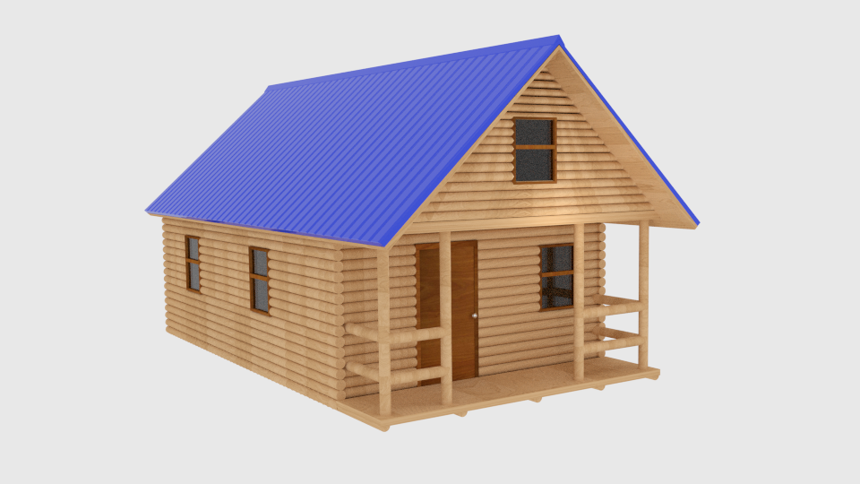 log cabin v1 3d model blend 216837