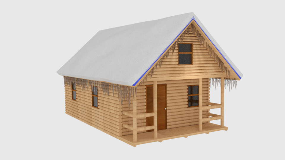 Winter Log Cabin 3d Model Blend