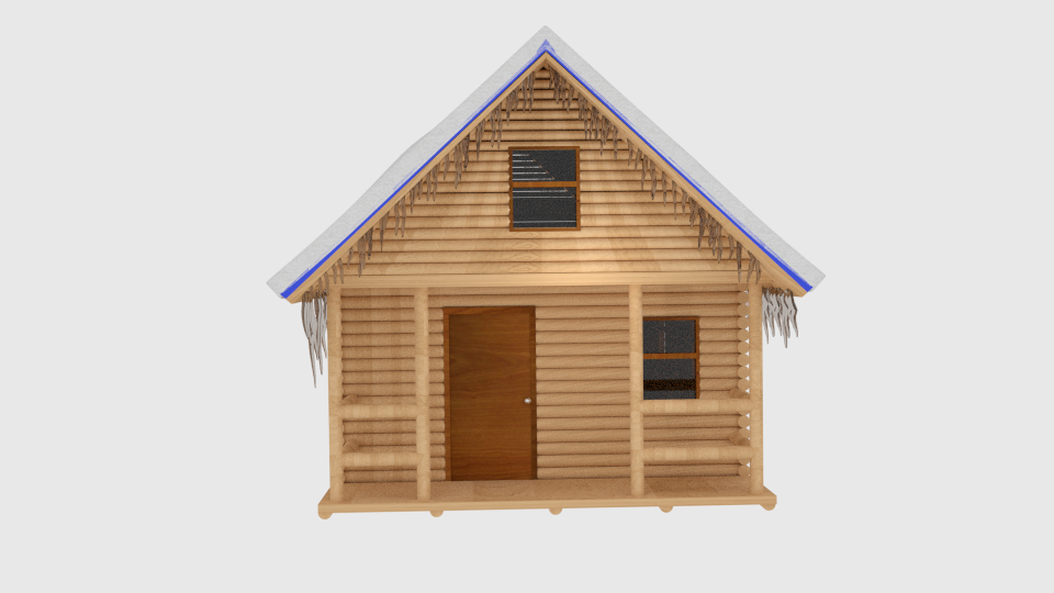winter log cabin 3d model blend 216845