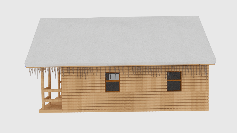 winter log cabin 3d model blend 216846