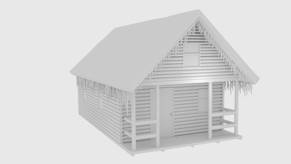 winter log cabin 3d model blend 216848
