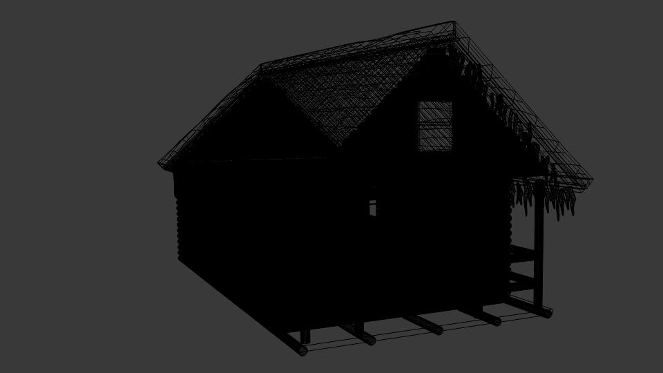 winter log cabin 3d model blend 216849