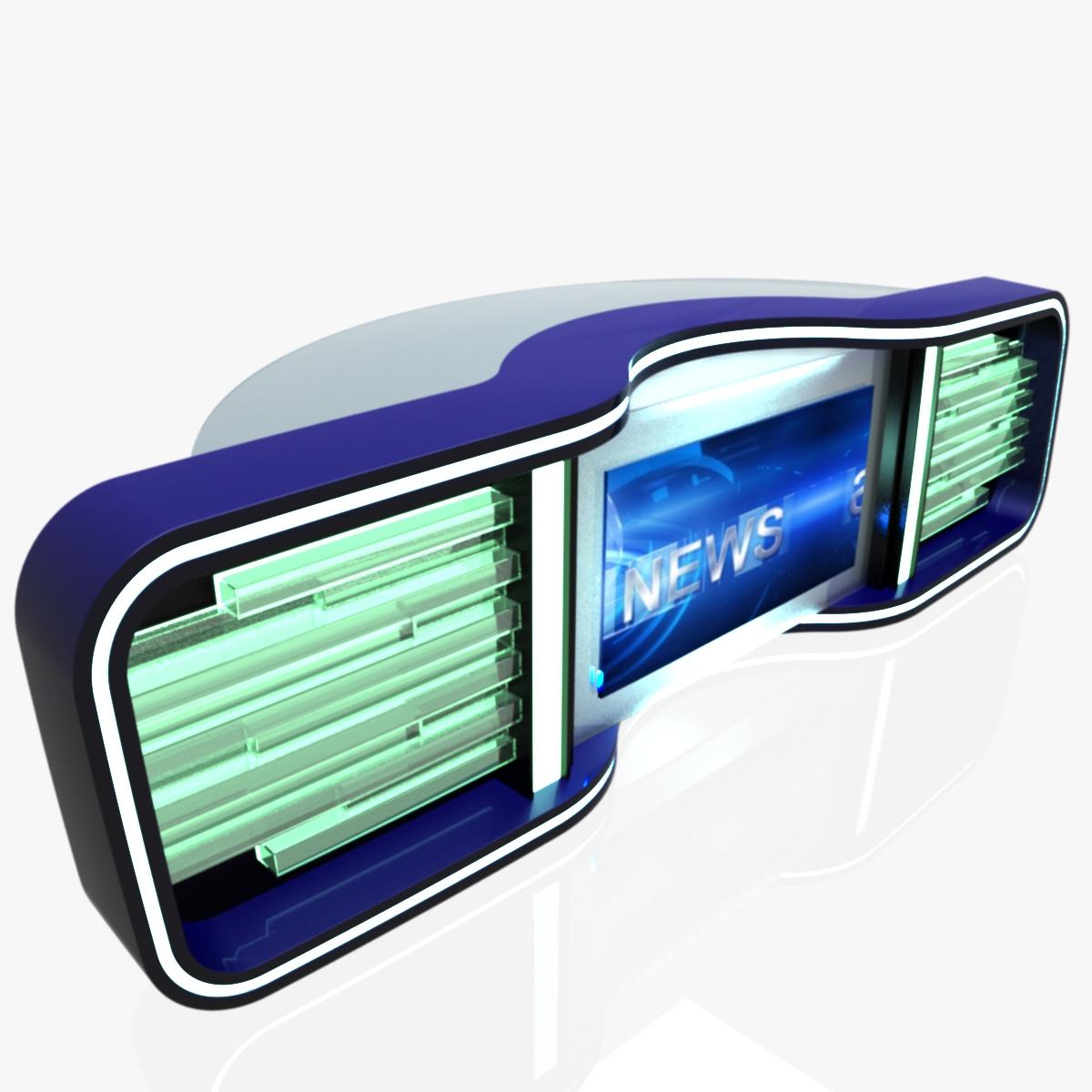Virtual Tv Studio News Desk 5 3d model 3ds max dxf fbx  obj 216967