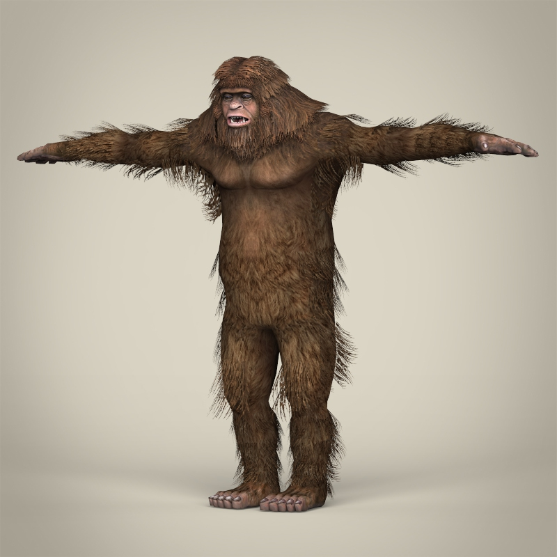 low poly realistic sasquatch 3d model 3ds max fbx c4d lwo ma mb obj 217019