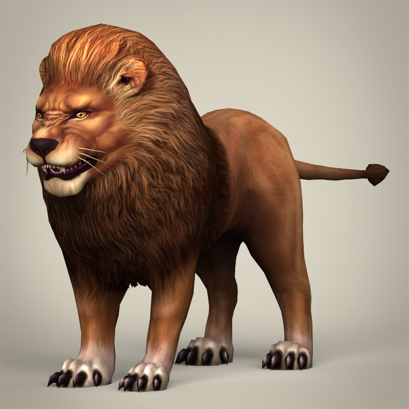 game ready realistic lion 3d model 3ds max fbx c4d lwo ma mb obj 217051