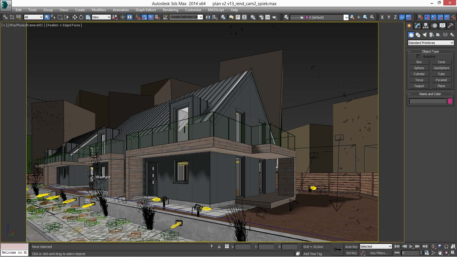 Vray night scene rendering modern house tutorial 3d for Architecture 3ds max