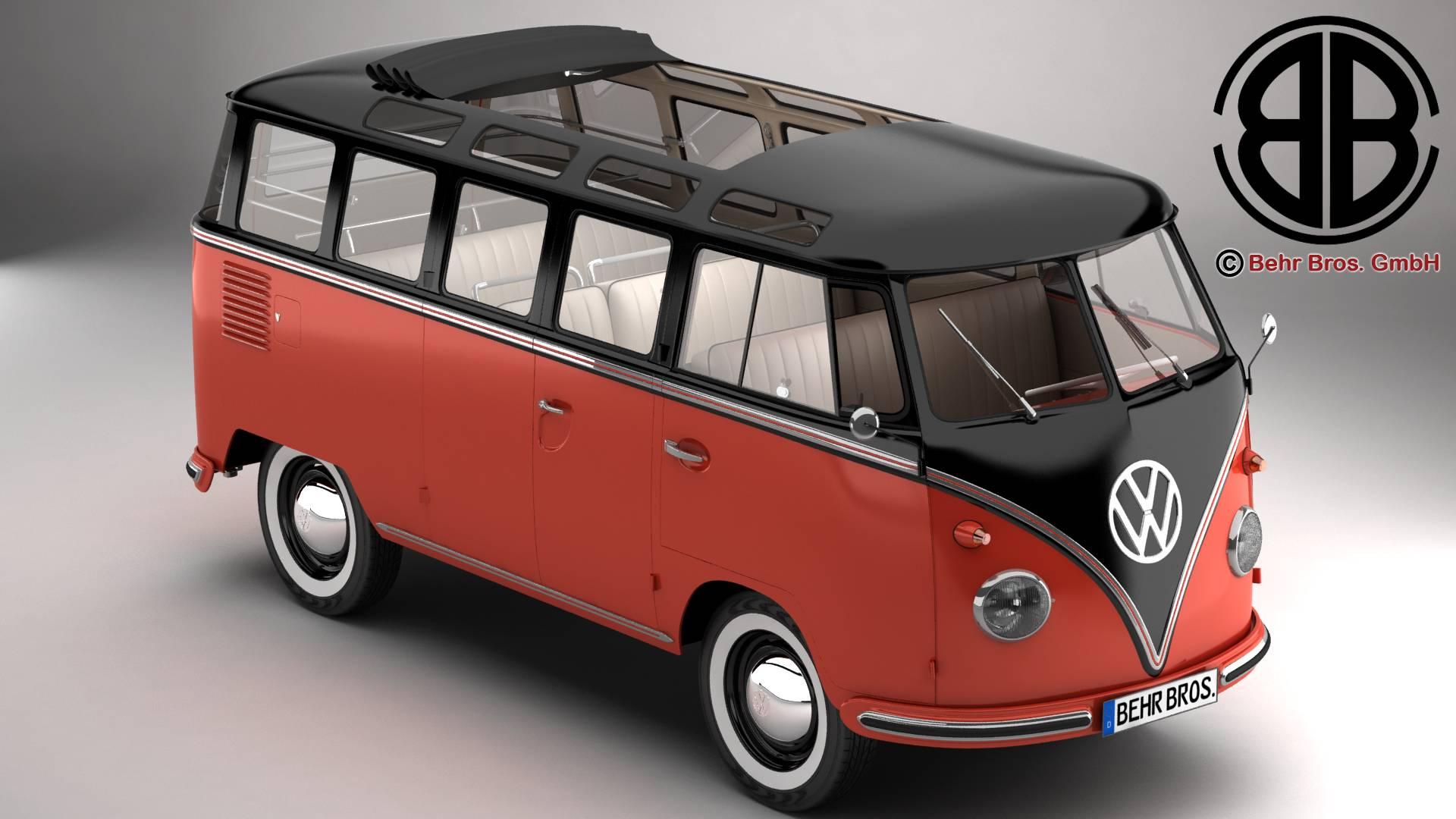 volkswagen typ 2 samba 1959 3d model 3ds max fbx c4d lwo ma mb obj 217104