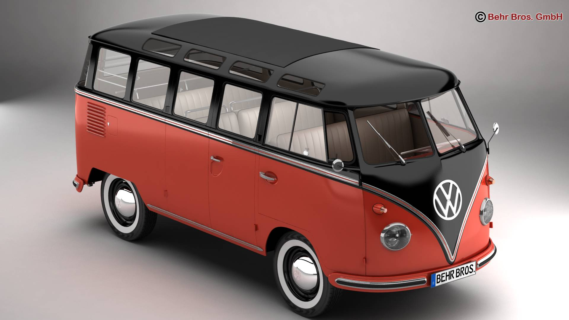 volkswagen type 2 samba 1959 3d model 3ds max fbx c4d lwo ma mb obj 217105