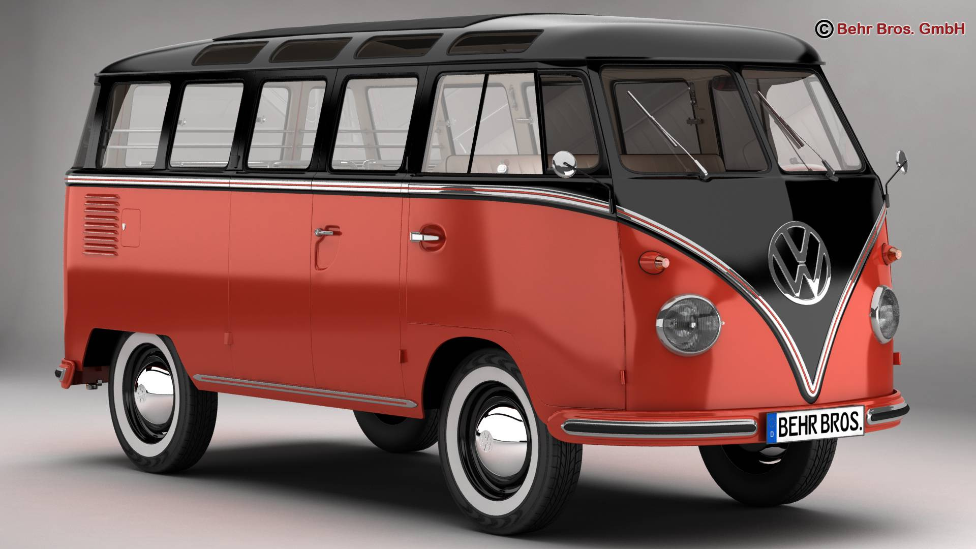 volkswagen type 2 samba 1959 3d model buy volkswagen type 2 samba 1959 3d model flatpyramid. Black Bedroom Furniture Sets. Home Design Ideas