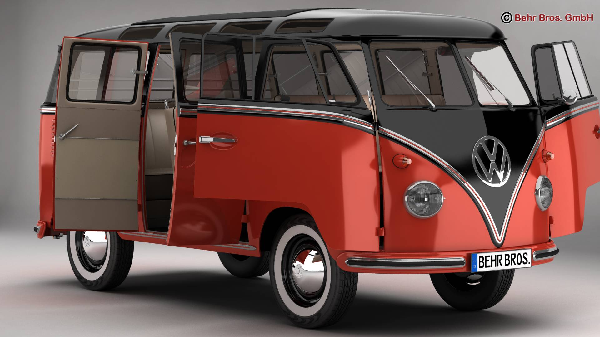 volkswagen type 2 samba 1959 3d model 3ds max fbx c4d lwo ma mb obj 217107