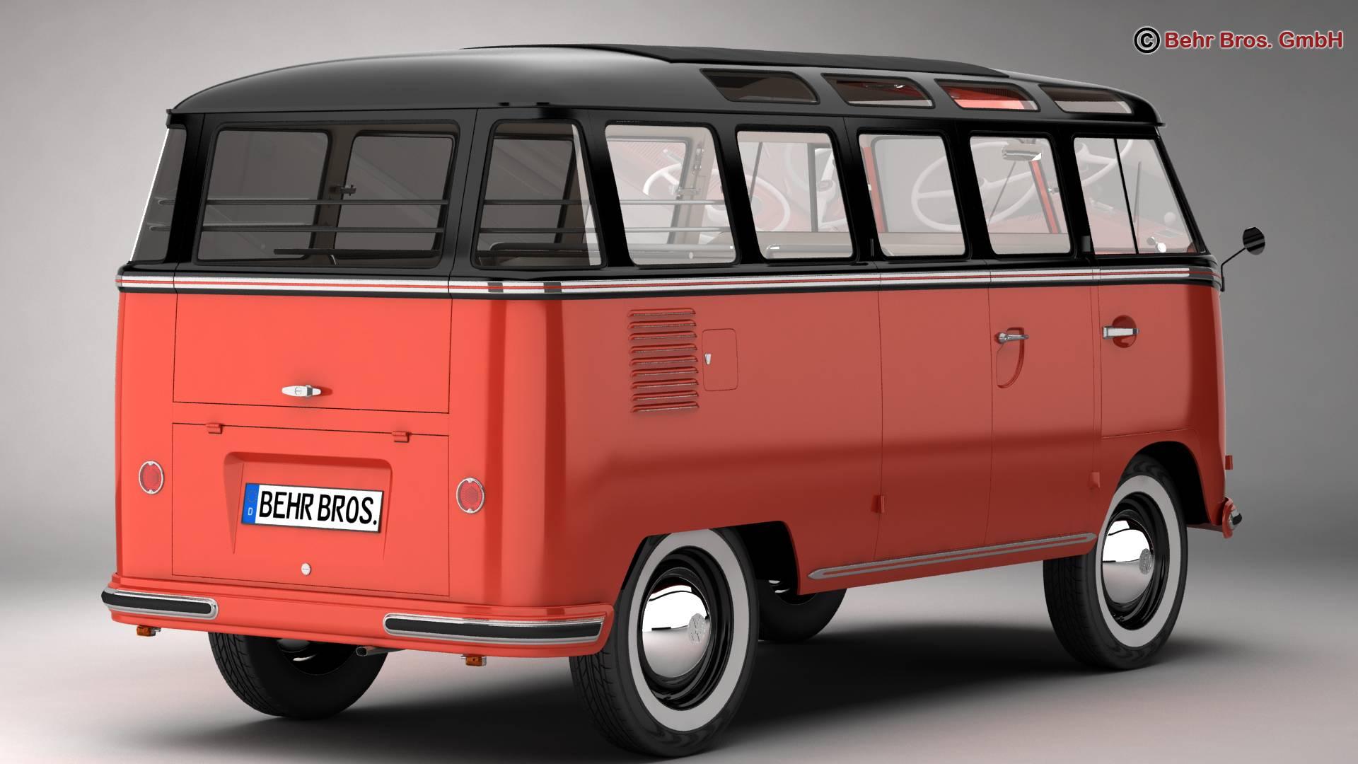 volkswagen type 2 samba 1959 3d model 3ds max fbx c4d lwo ma mb obj 217108