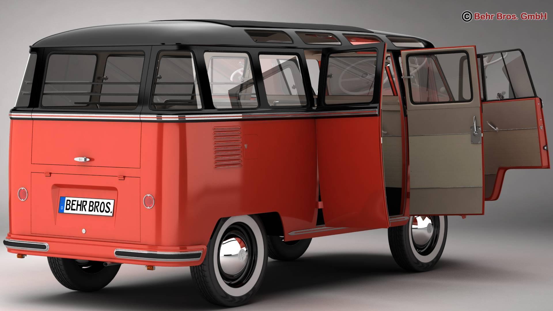 volkswagen type 2 samba 1959 3d model 3ds max fbx c4d lwo ma mb obj 217109