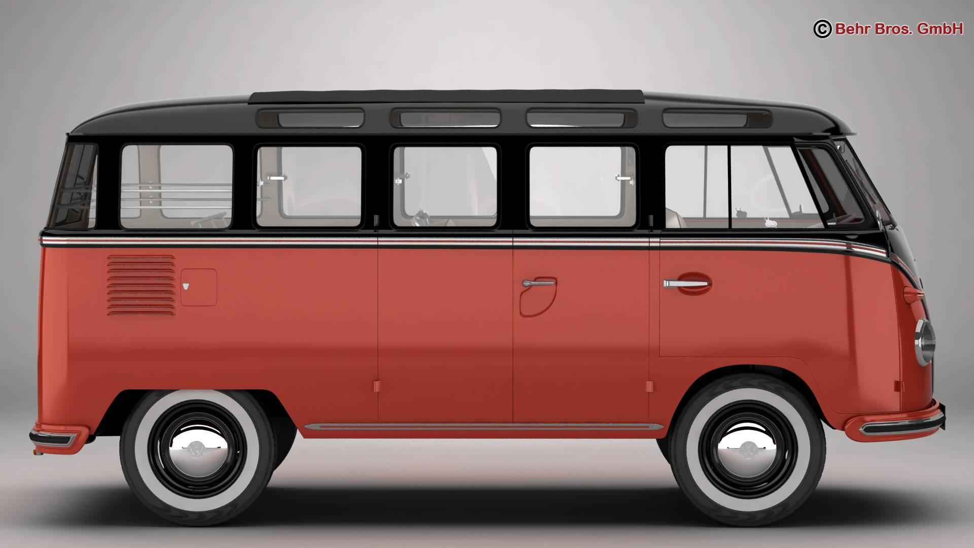 volkswagen type 2 samba 1959 3d model 3ds max fbx c4d lwo ma mb obj 217110