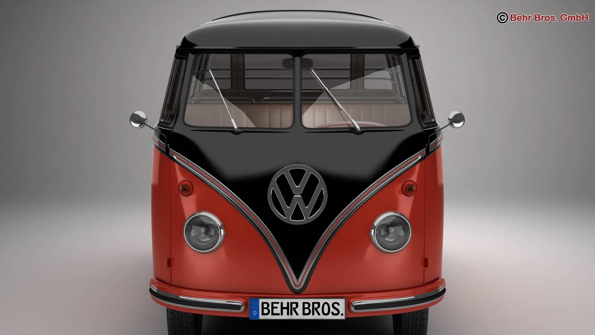 volkswagen type 2 samba 1959 3d model 3ds max fbx c4d lwo ma mb obj 217111