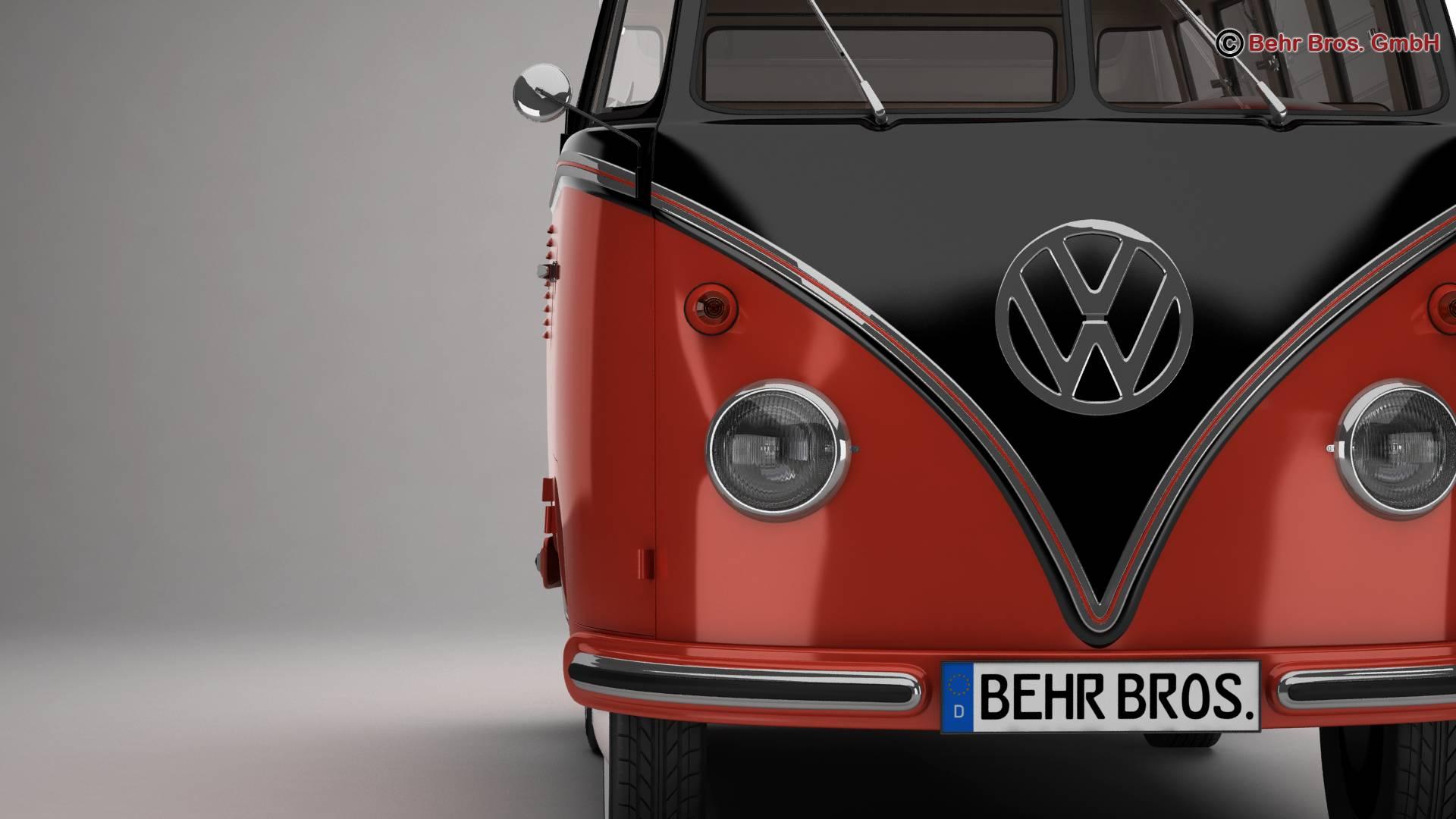 volkswagen type 2 samba 1959 3d model 3ds max fbx c4d lwo ma mb obj 217112
