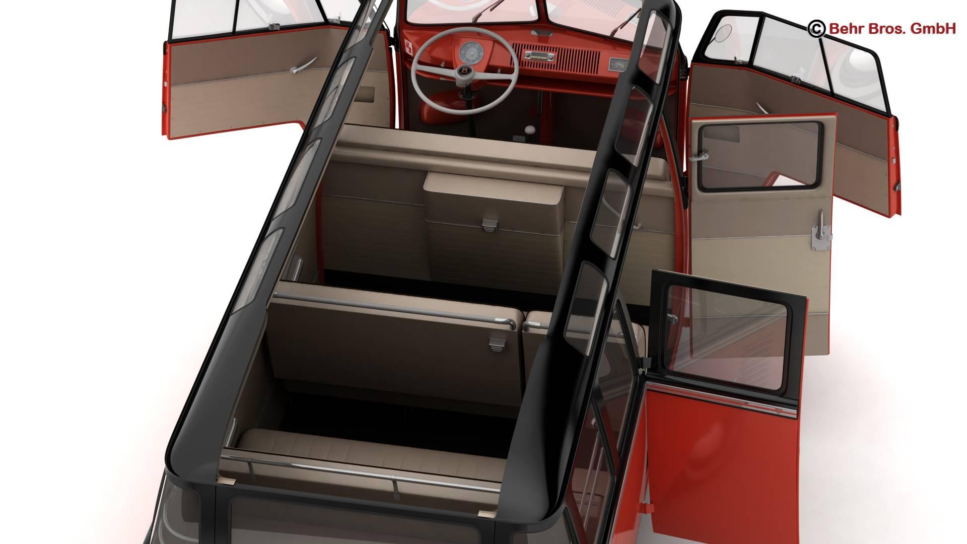 volkswagen type 2 samba 1959 3d model 3ds max fbx c4d lwo ma mb obj 217117