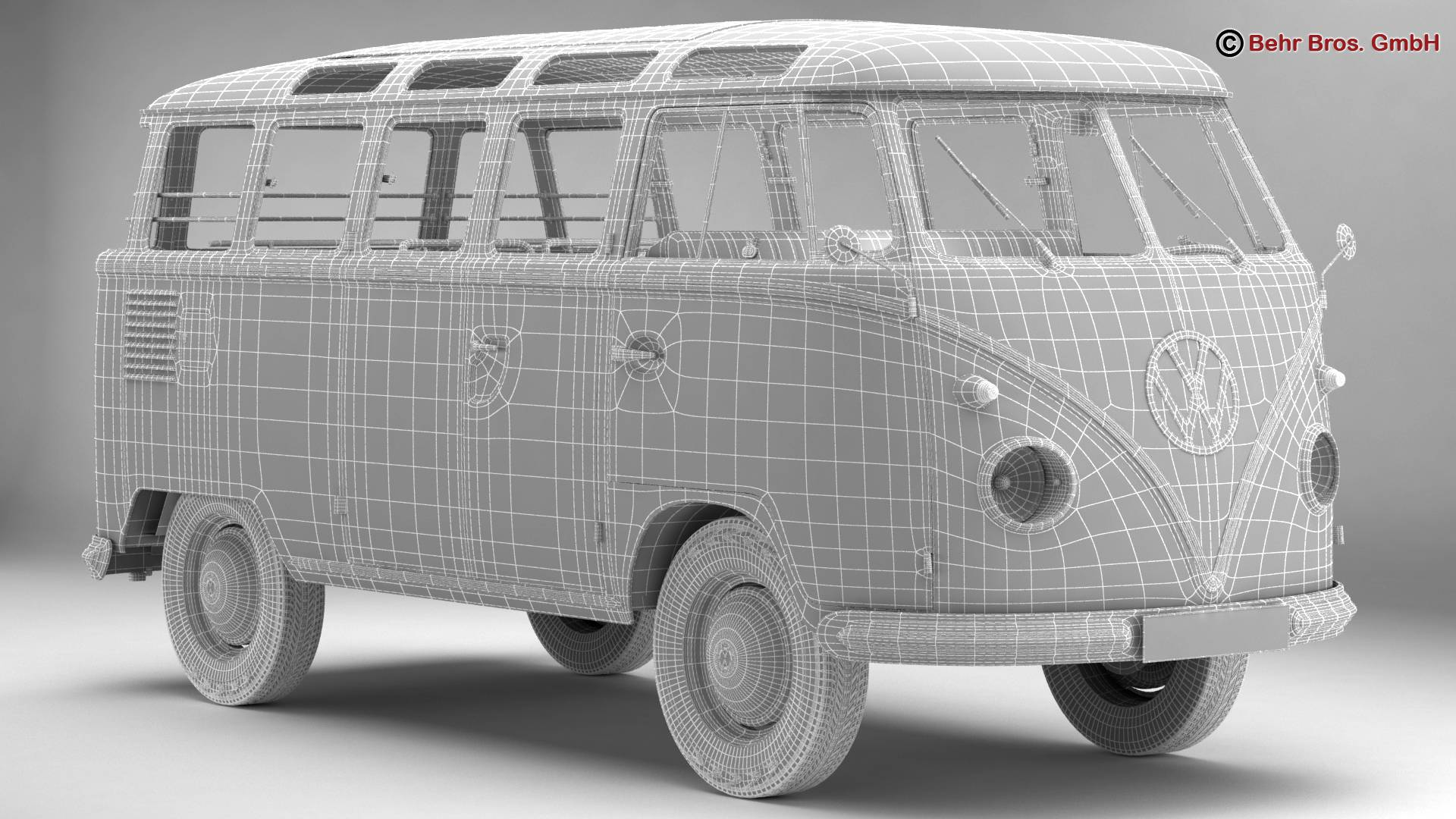 volkswagen type 2 samba 1959 3d model 3ds max fbx c4d lwo ma mb obj 217122