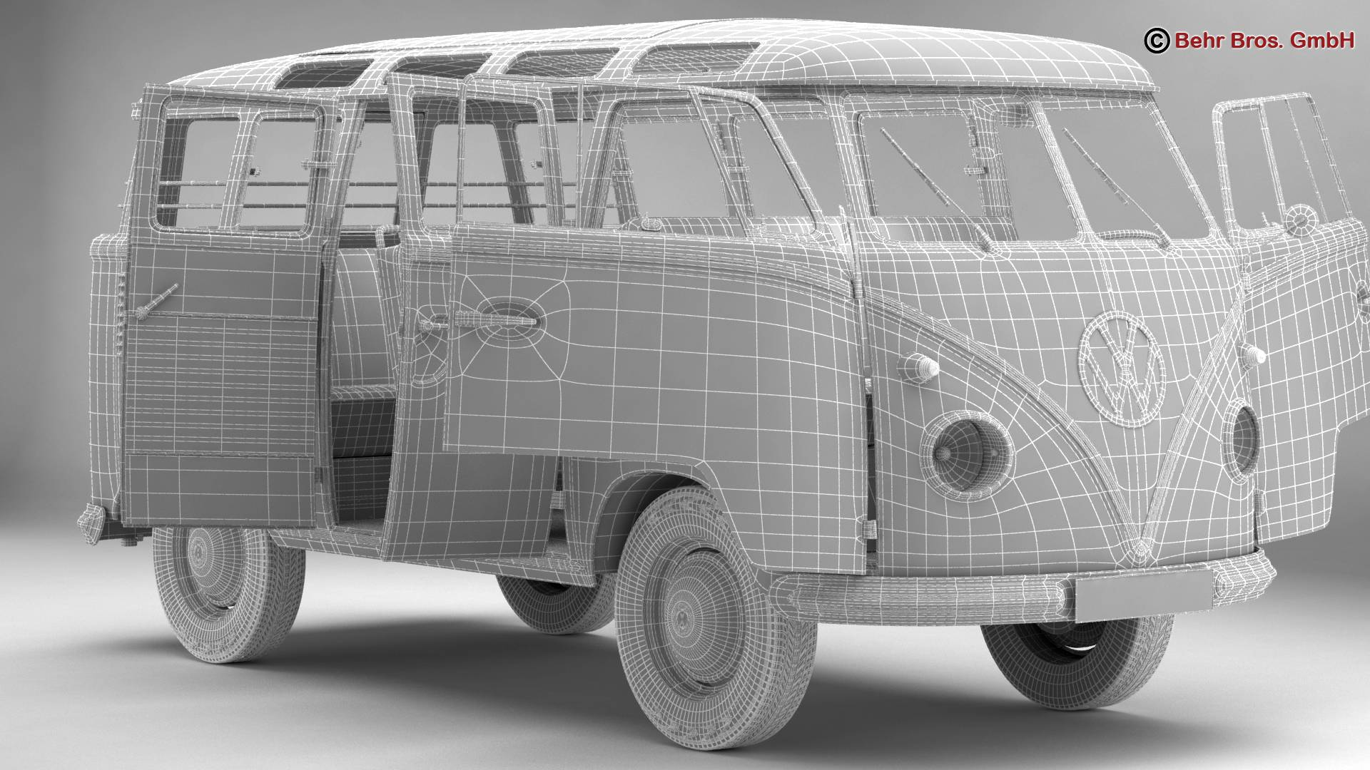 volkswagen type 2 samba 1959 3d model 3ds max fbx c4d lwo ma mb obj 217123