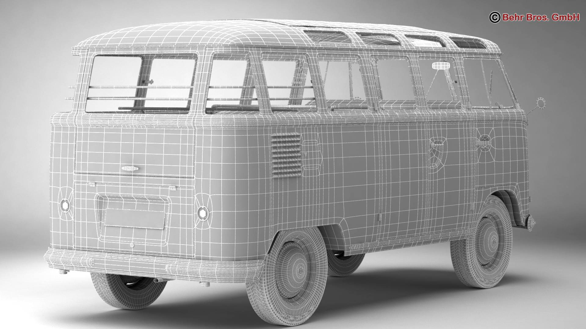 volkswagen type 2 samba 1959 3d model 3ds max fbx c4d lwo ma mb obj 217124