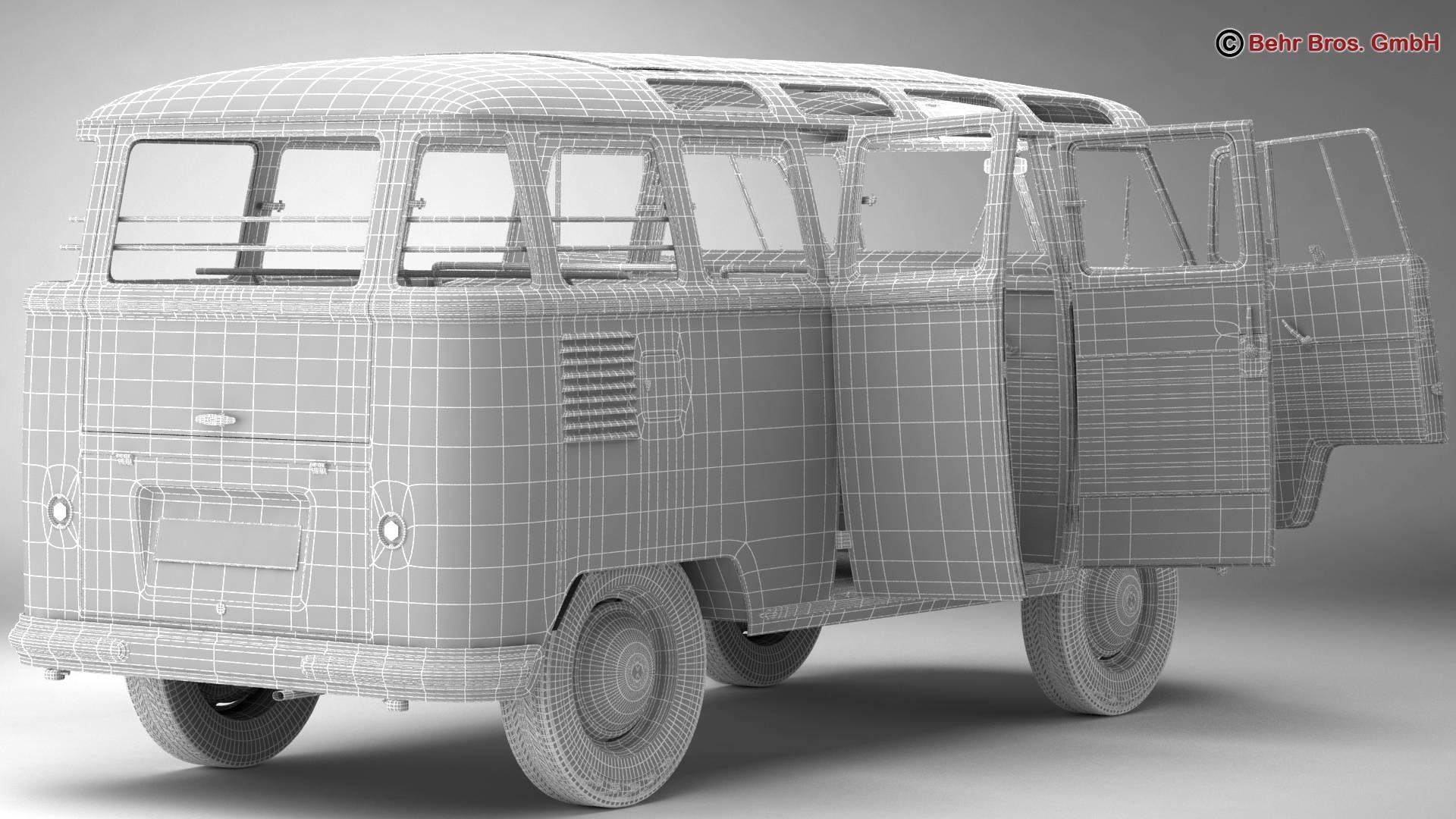 volkswagen type 2 samba 1959 3d model 3ds max fbx c4d lwo ma mb obj 217125