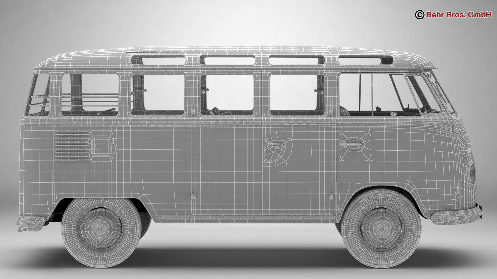 volkswagen type 2 samba 1959 3d model 3ds max fbx c4d lwo ma mb obj 217126