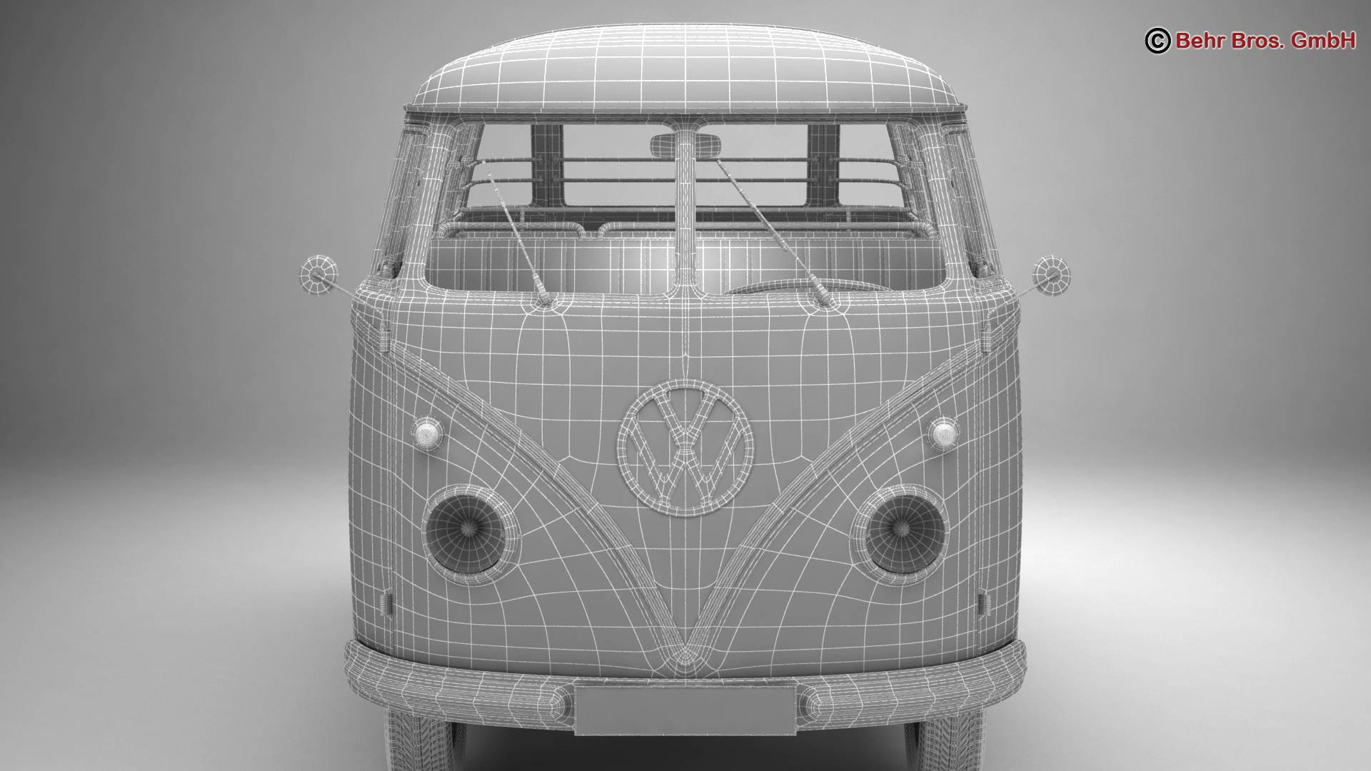 volkswagen type 2 samba 1959 3d model 3ds max fbx c4d lwo ma mb obj 217127