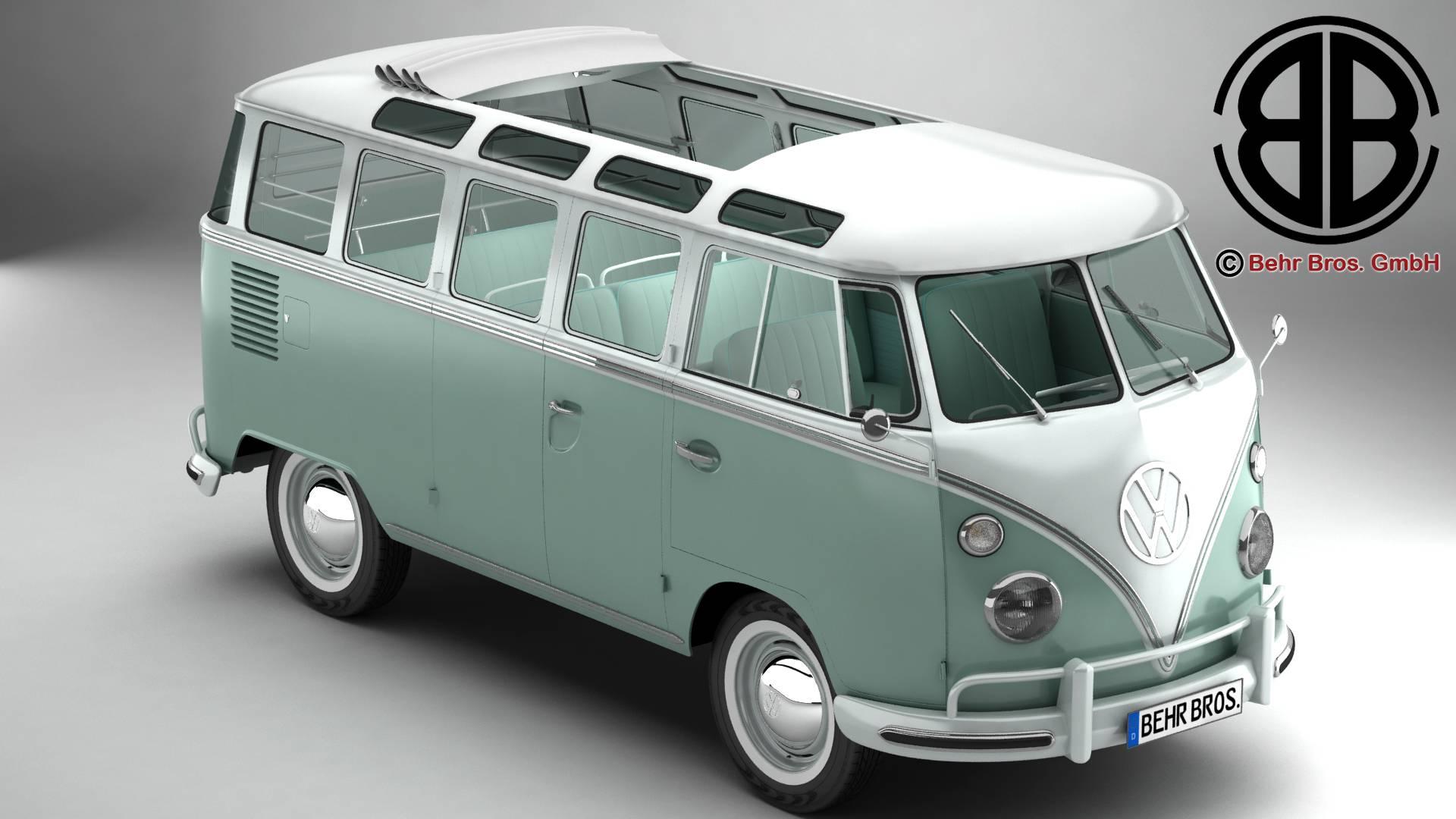 volkswagen typ 2 samba 1963 3d model 3ds max fbx c4d lwo ma mb obj 217141