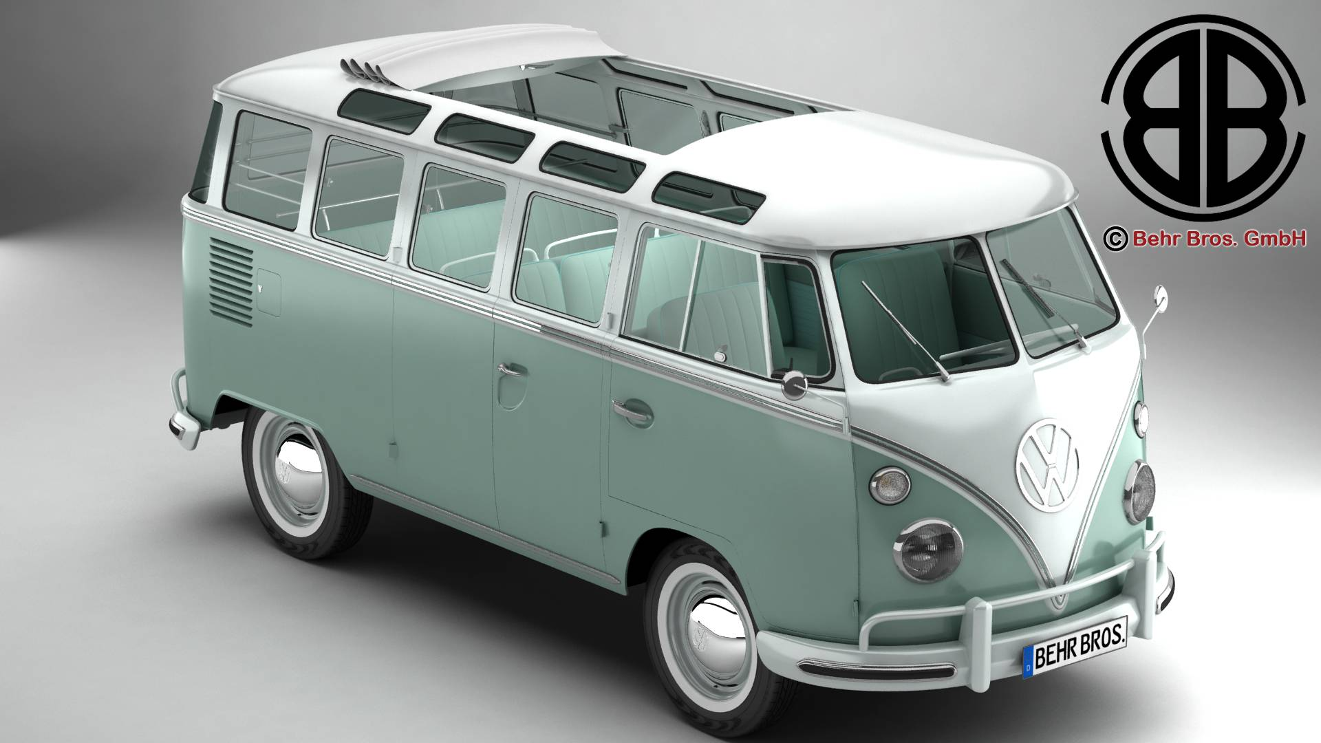 volkswagen type 2 samba 1963 3d model 3ds max fbx c4d lwo ma mb obj 217141