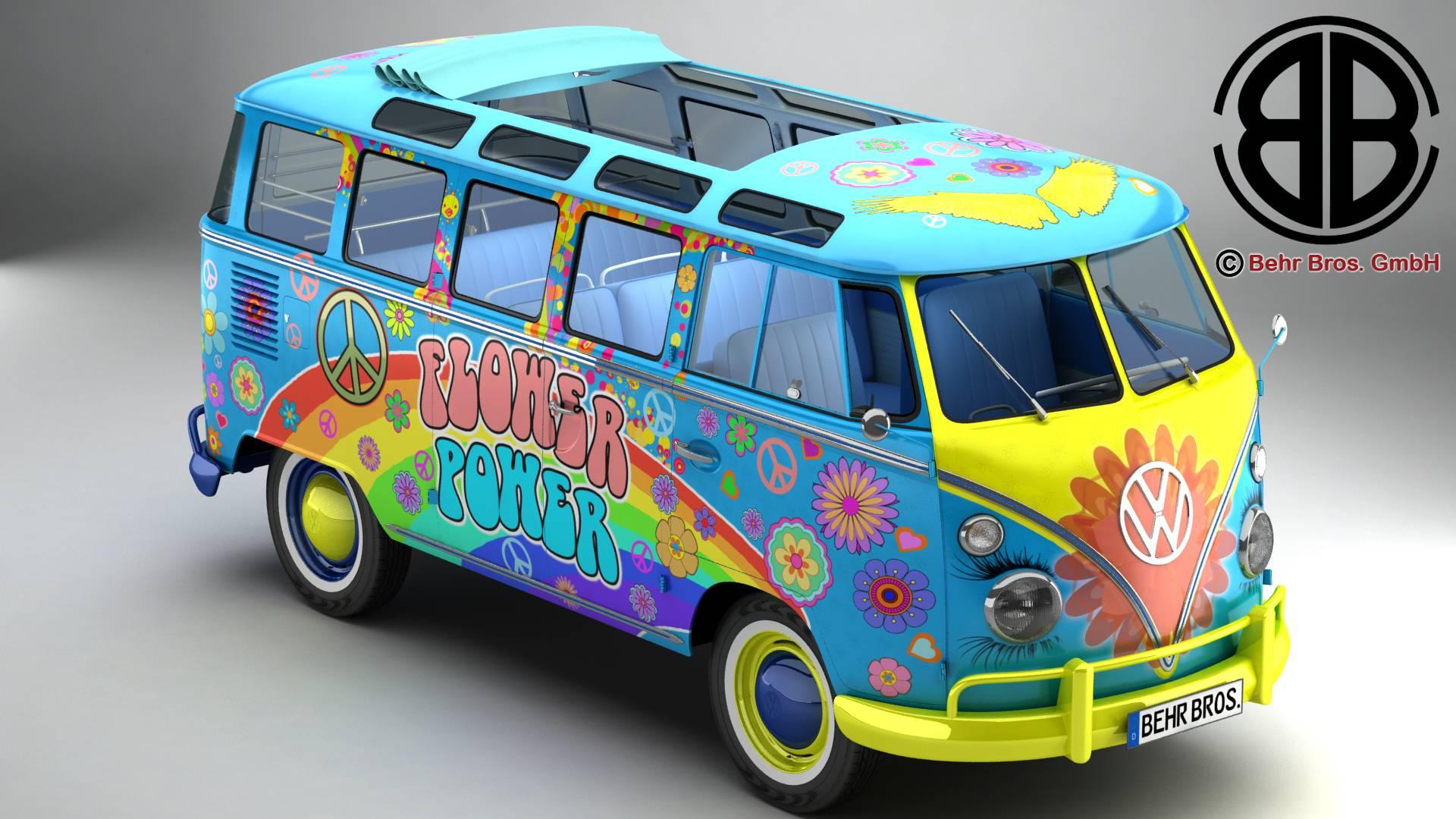 volkswagen typ 2 samba 1963 hippie 3d model 3ds max fbx c4d lwo ma mb obj 217240