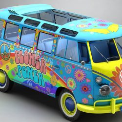 Volkswagen Type 2 Samba 1963 Hippie 3d model 0