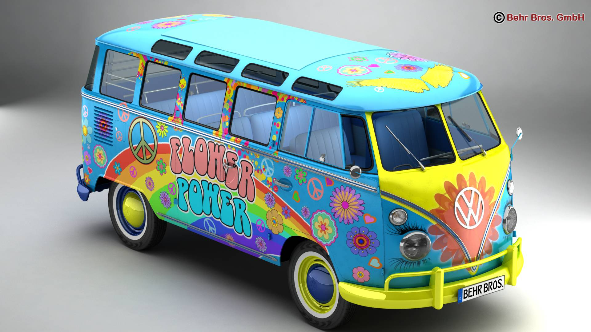 volkswagen type 2 samba 1963 hippie 3d model 3ds max fbx c4d lwo ma mb obj 217241