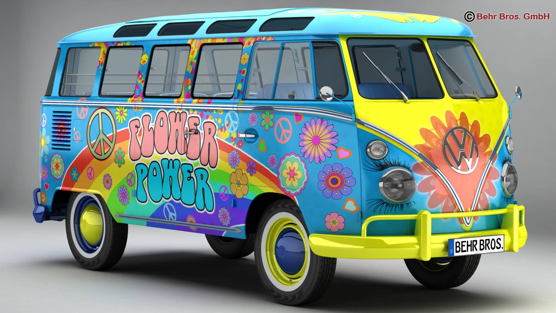 volkswagen type 2 samba 1963 hippie 3d model 3ds max fbx c4d lwo ma mb obj 217242