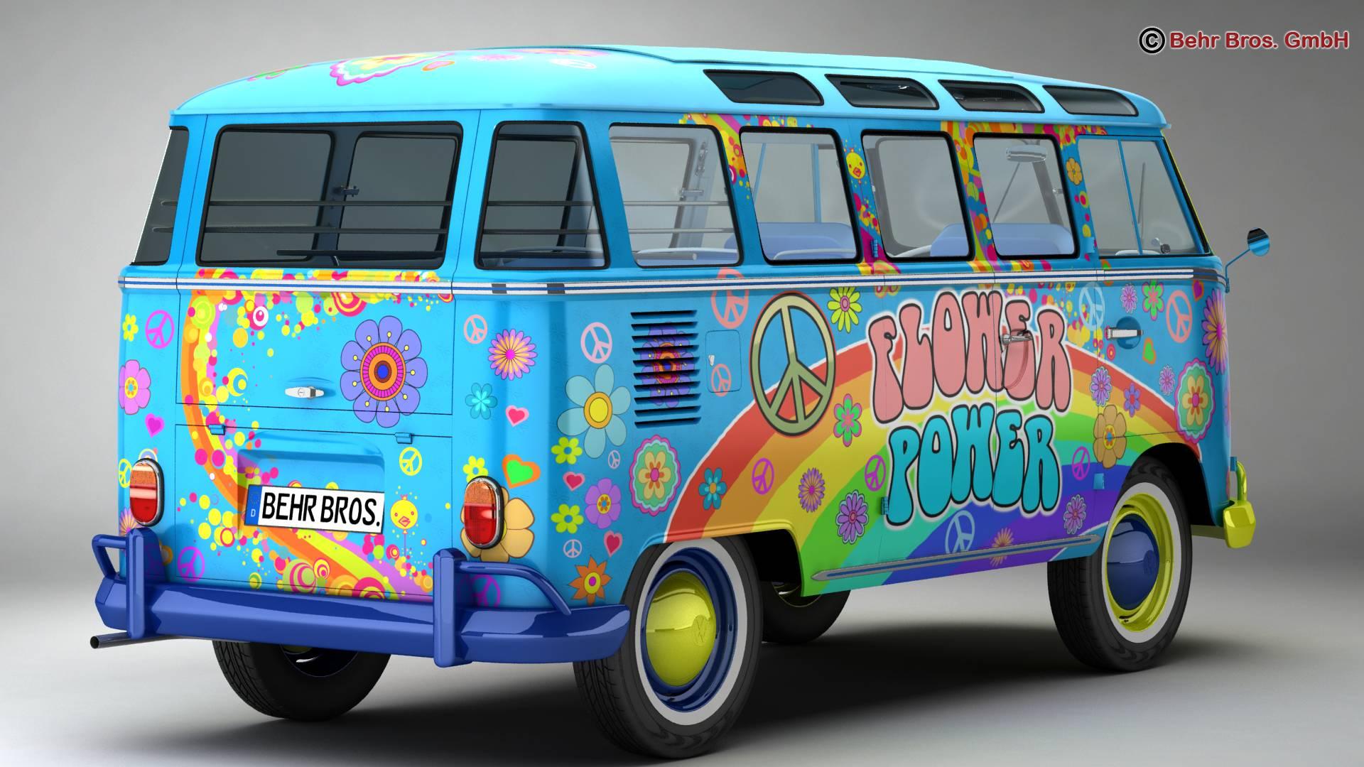 volkswagen type 2 samba 1963 hippie 3d model 3ds max fbx c4d lwo ma mb obj 217244