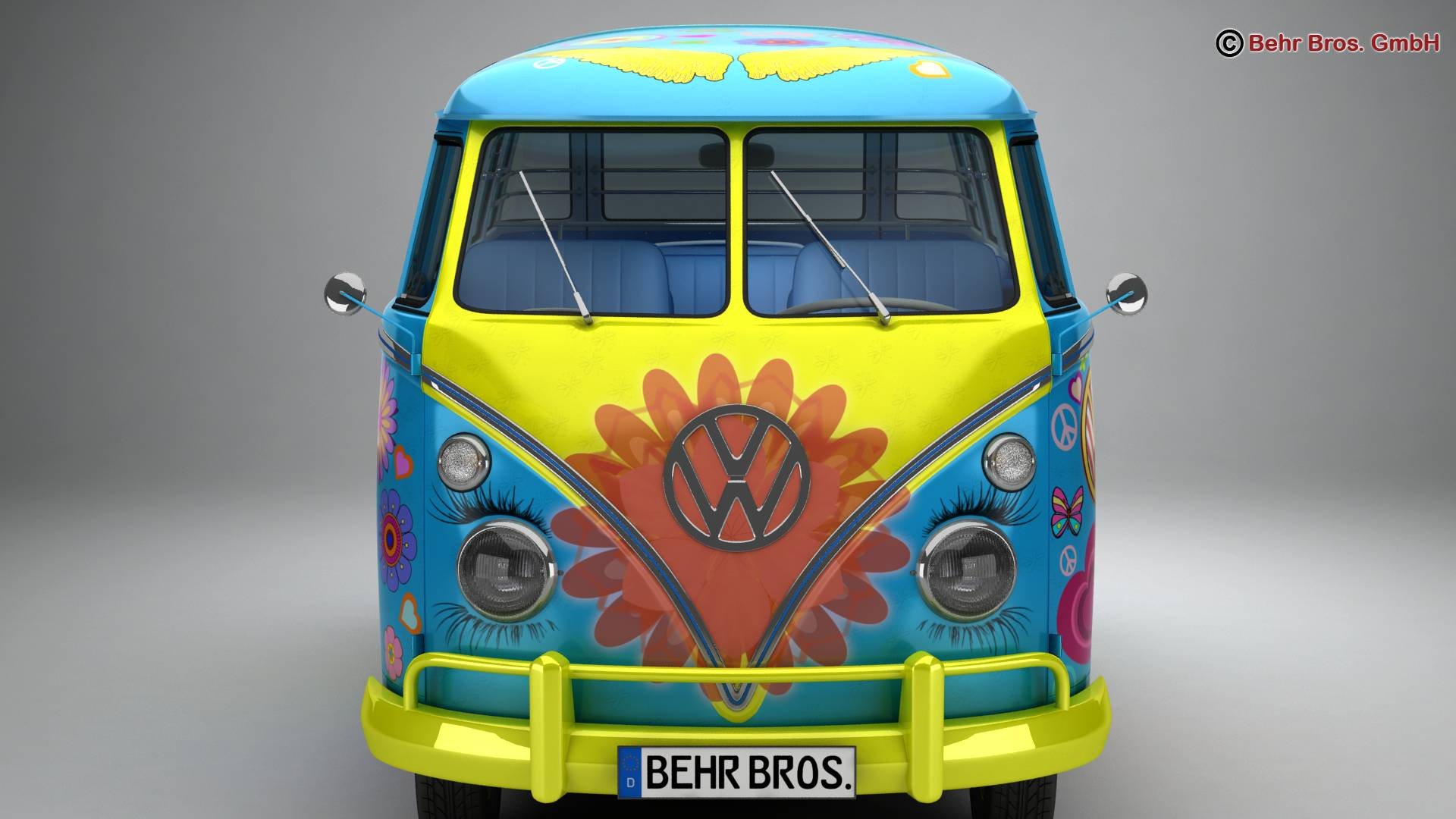volkswagen type 2 samba 1963 hippie 3d model 3ds max fbx c4d lwo ma mb obj 217247