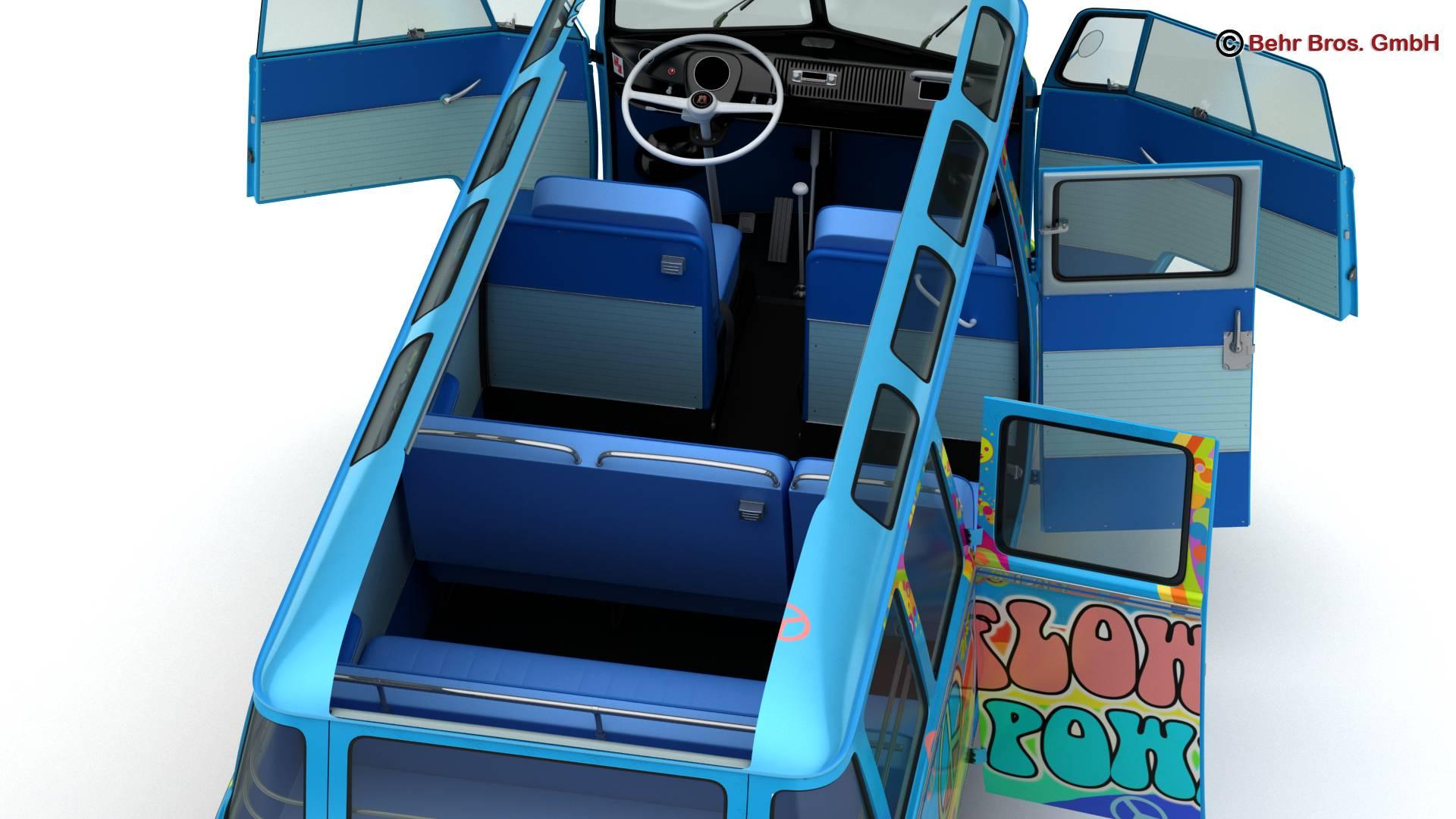 volkswagen type 2 samba 1963 hippie 3d model 3ds max fbx c4d lwo ma mb obj 217253