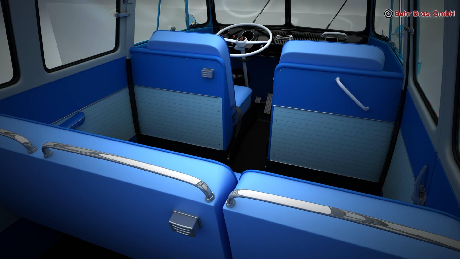 volkswagen type 2 samba 1963 hippie 3d model 3ds max fbx c4d lwo ma mb obj 217255