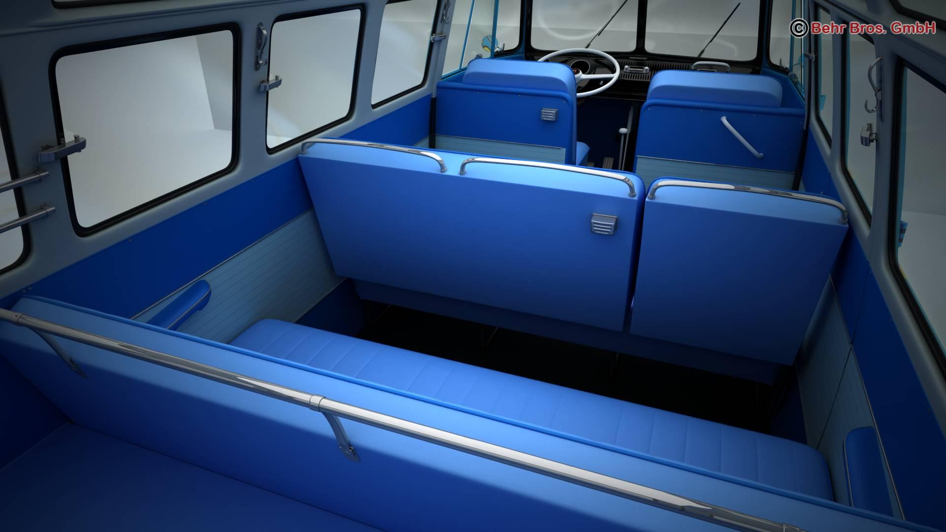 volkswagen type 2 samba 1963 hippie 3d model 3ds max fbx c4d lwo ma mb obj 217256