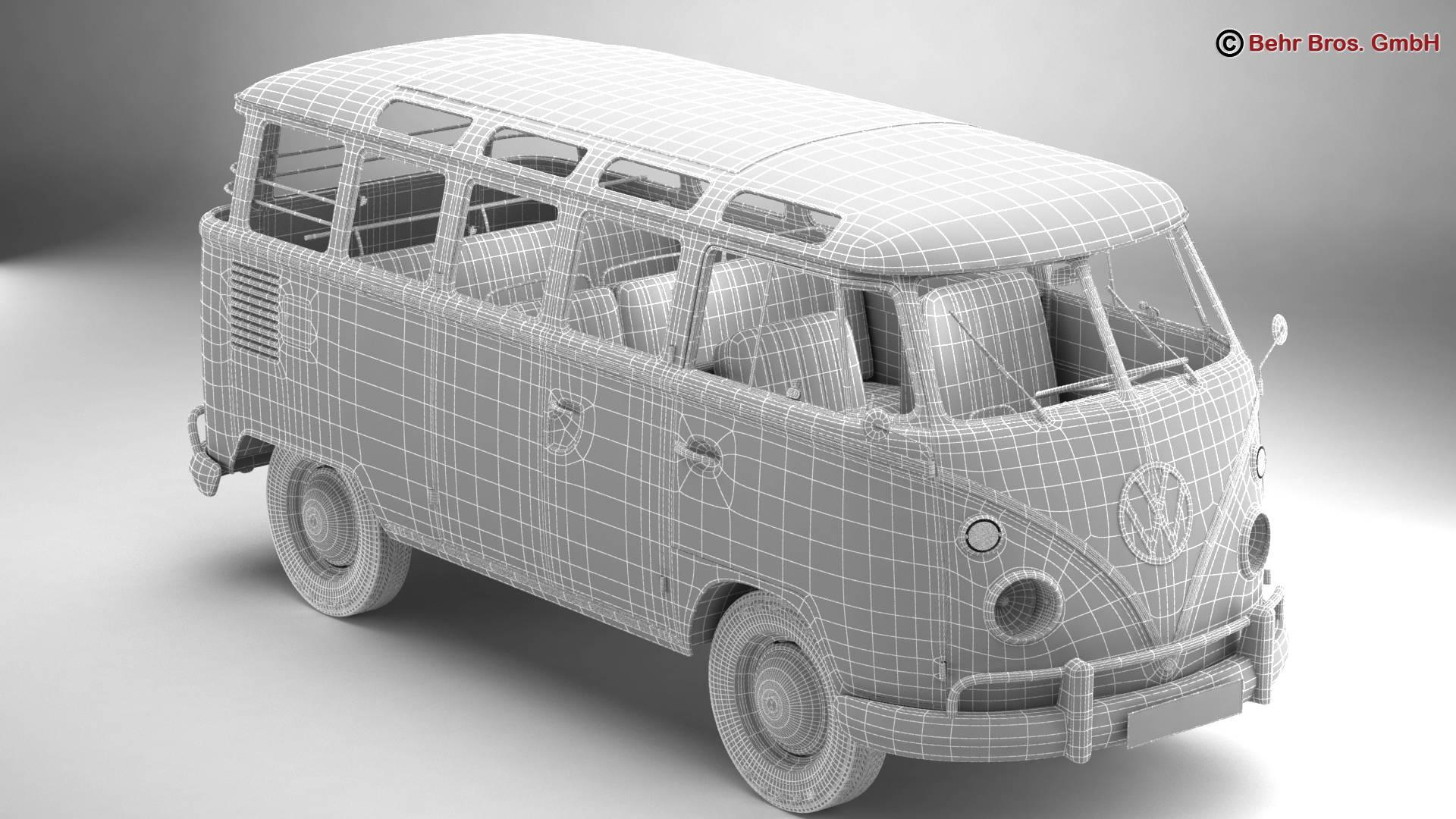 volkswagen type 2 samba 1963 hippie 3d model 3ds max fbx c4d lwo ma mb obj 217257
