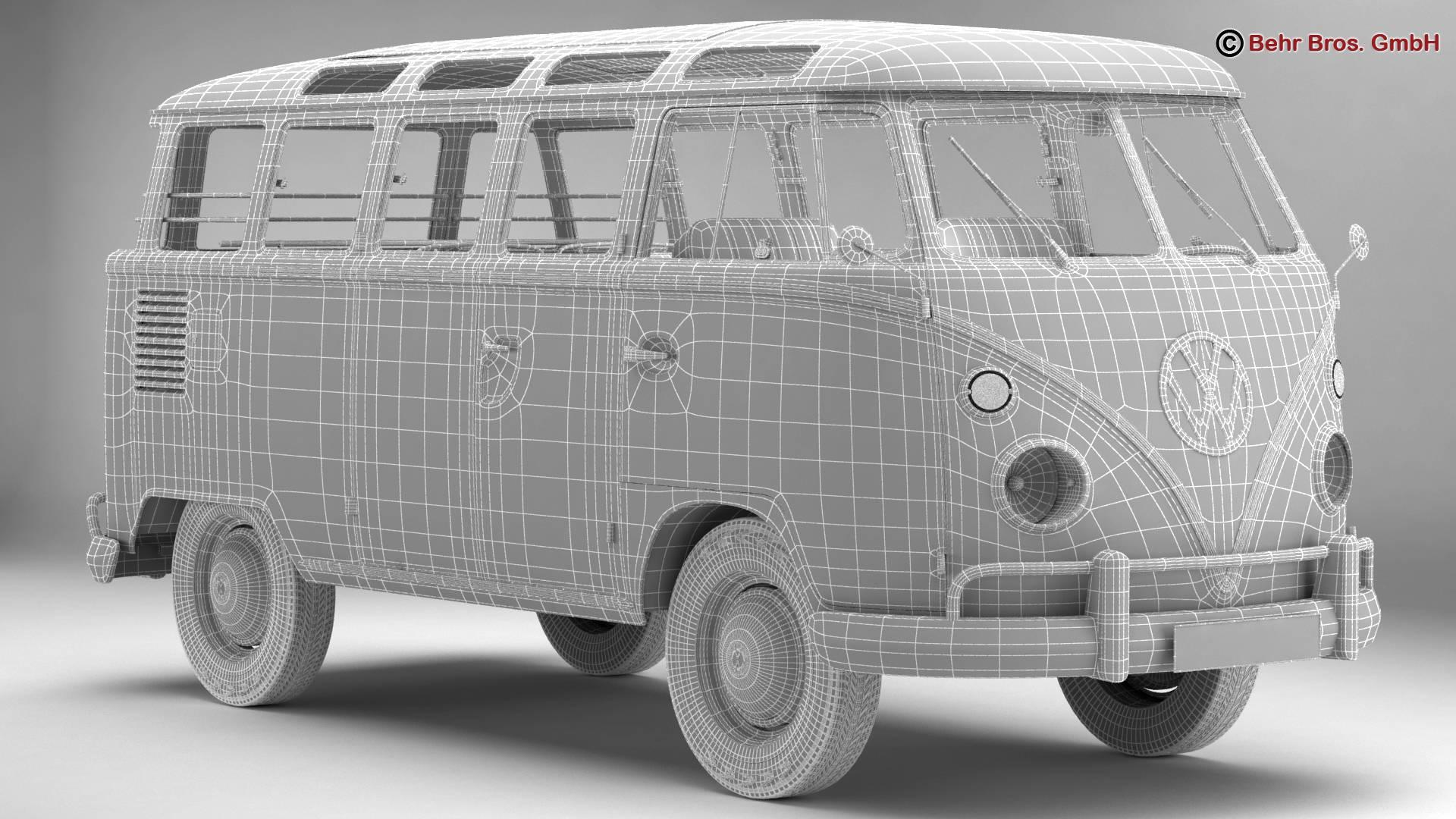 volkswagen type 2 samba 1963 hippie 3d model 3ds max fbx c4d lwo ma mb obj 217258