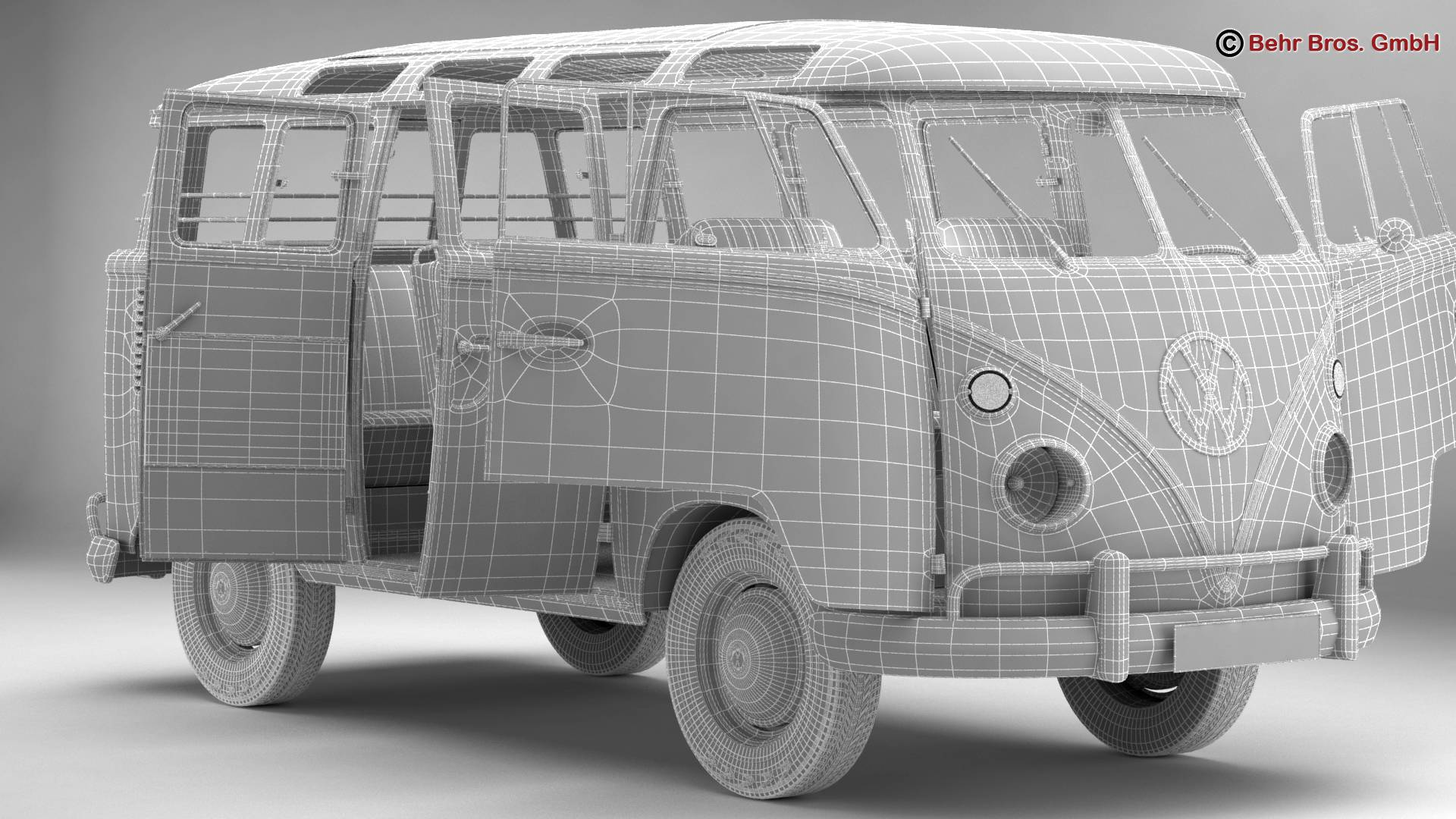 volkswagen type 2 samba 1963 hippie 3d model 3ds max fbx c4d lwo ma mb obj 217259