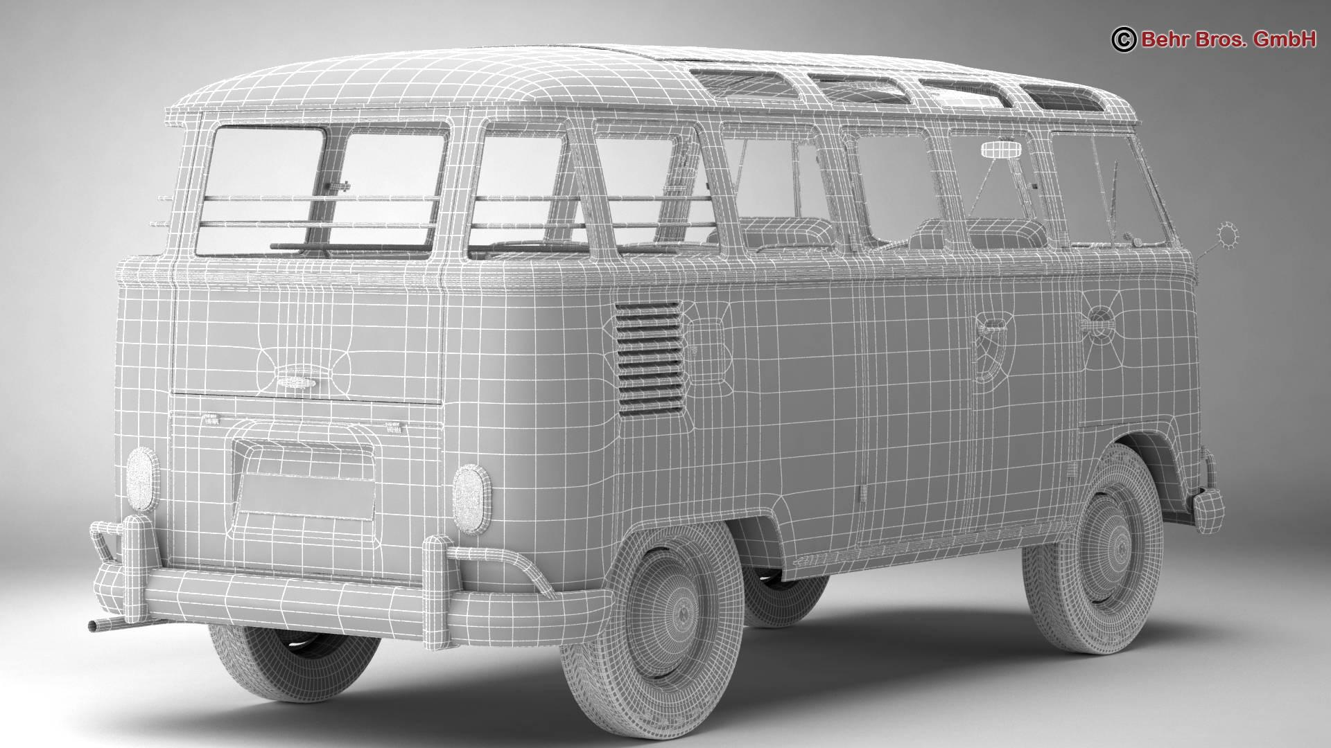 volkswagen type 2 samba 1963 hippie 3d model 3ds max fbx c4d lwo ma mb obj 217260