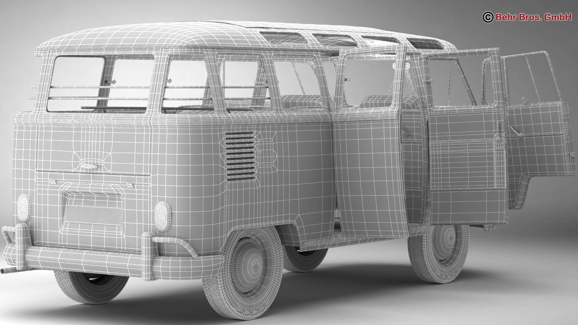 volkswagen type 2 samba 1963 hippie 3d model 3ds max fbx c4d lwo ma mb obj 217261