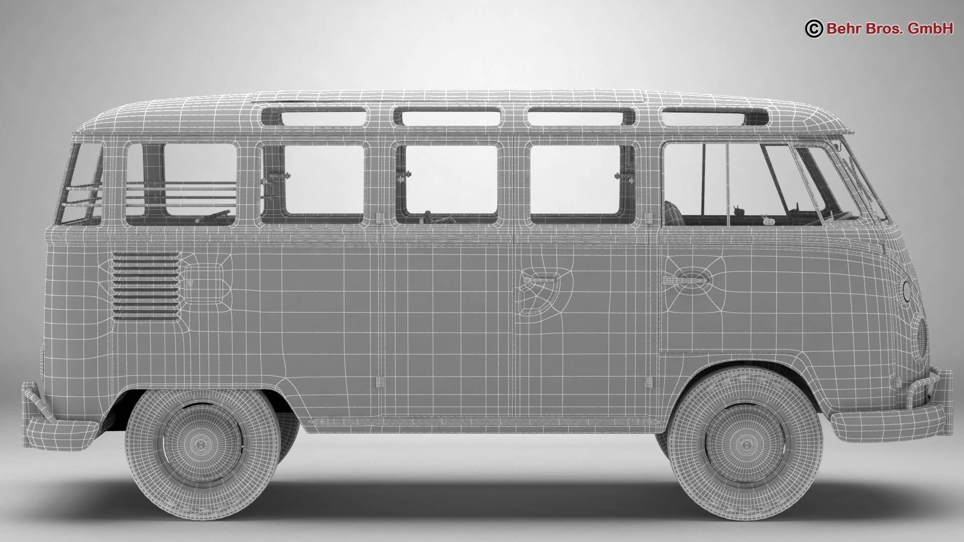 volkswagen type 2 samba 1963 hippie 3d model 3ds max fbx c4d lwo ma mb obj 217262