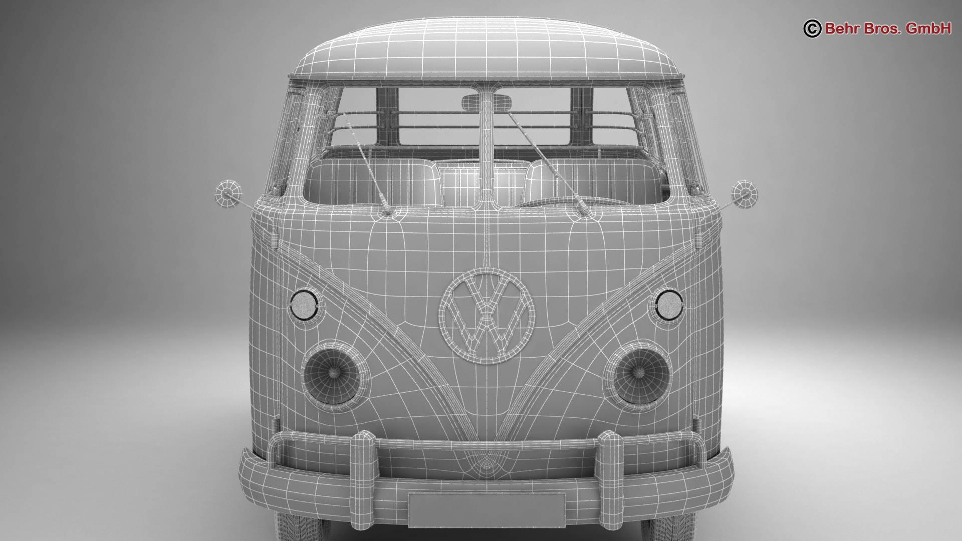 volkswagen type 2 samba 1963 hippie 3d model 3ds max fbx c4d lwo ma mb obj 217263
