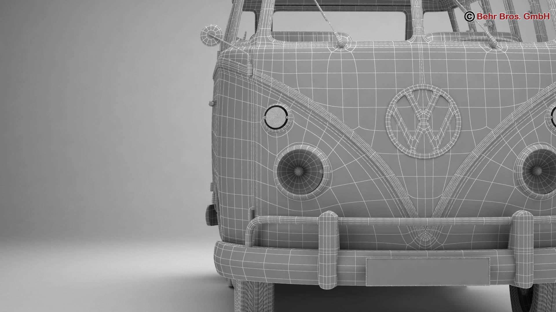volkswagen type 2 samba 1963 hippie 3d model 3ds max fbx c4d lwo ma mb obj 217264