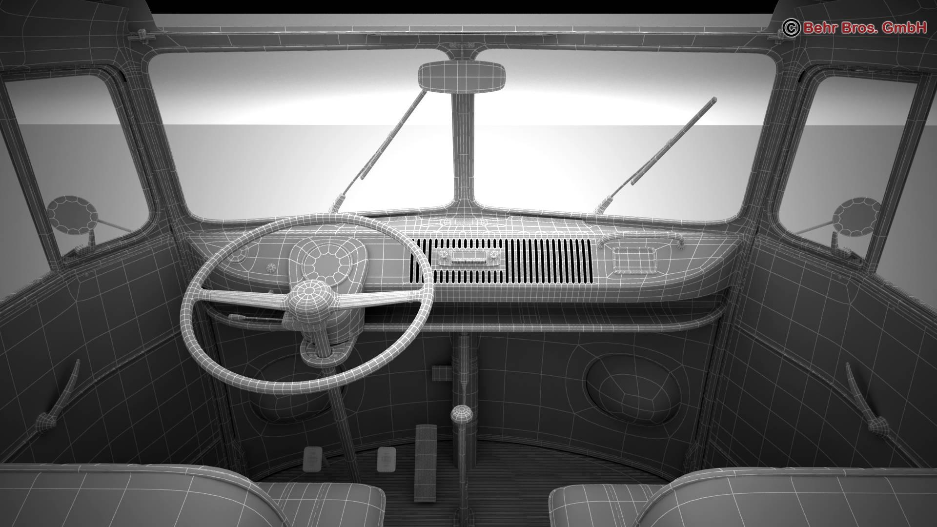 volkswagen type 2 samba 1963 hippie 3d model 3ds max fbx c4d lwo ma mb obj 217270