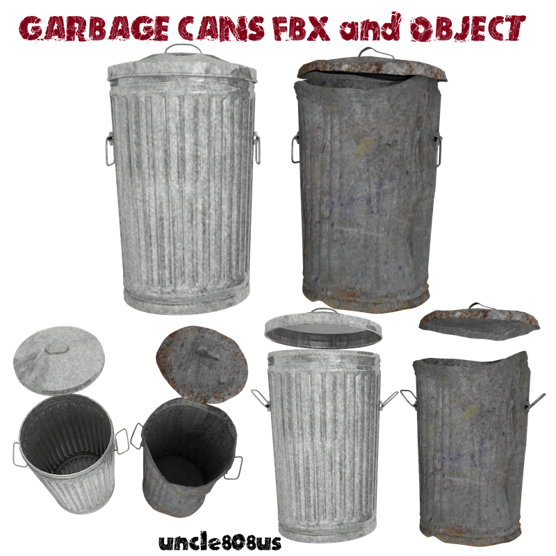 garbage cans fbx and object 3d model fbx 217325