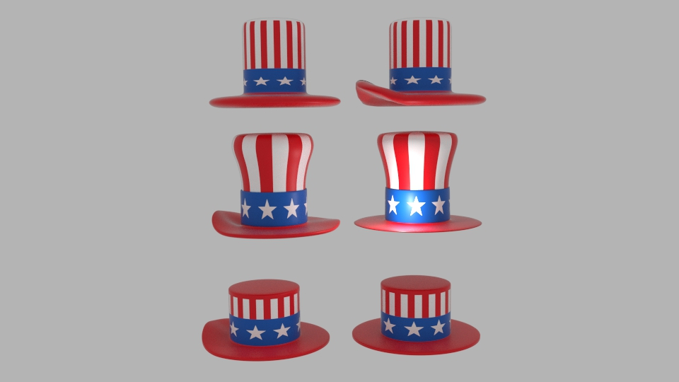 usa hat pack 3d model blend 217404