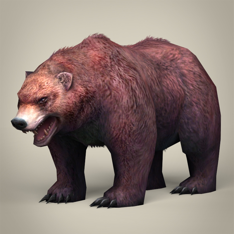 game ready realistic bear 3d model 3ds max fbx c4d lwo ma mb obj 217498