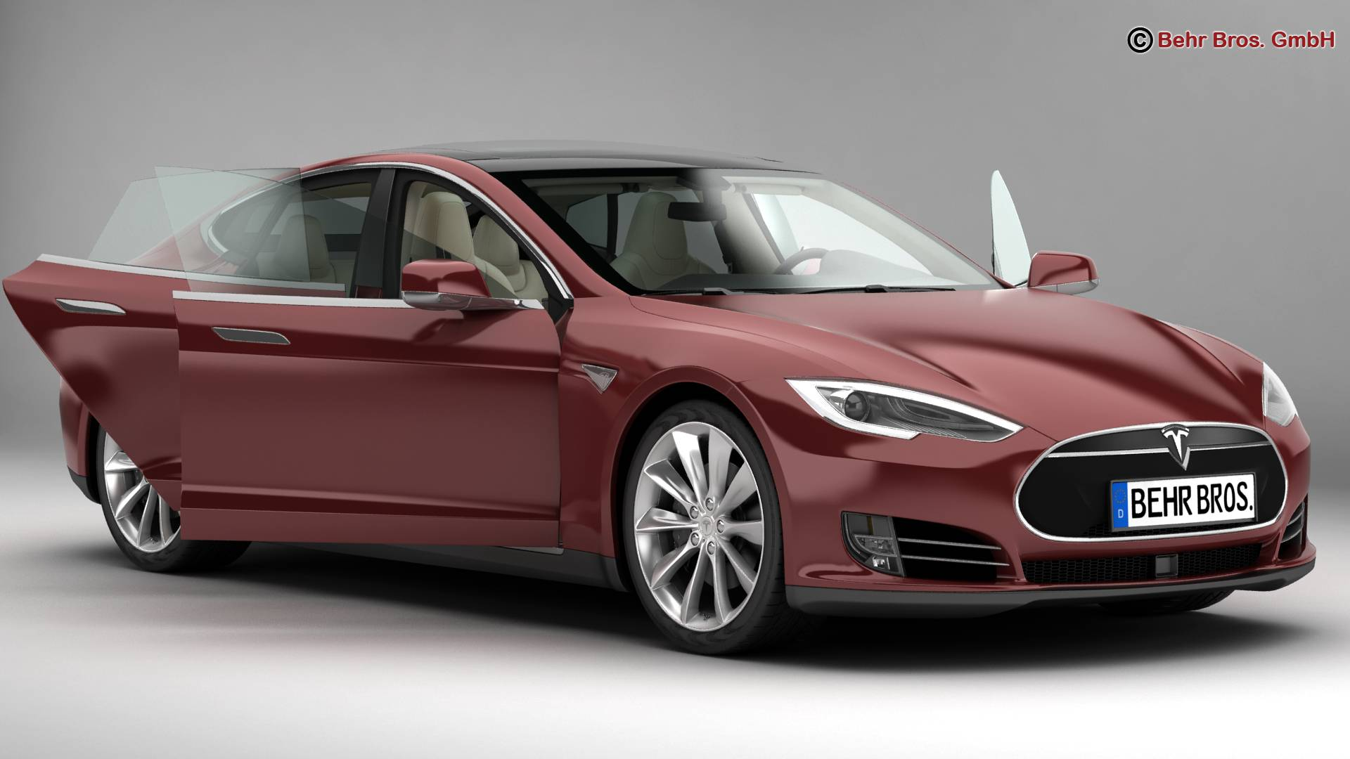 tesla model s 2015 3d model 3ds max fbx c4d lwo ma mb obj 217607